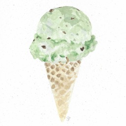 Rocky's Mint Chocolate Chip Ice Cream Cone